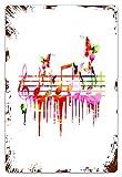MIFSOIAVV Vendimia Cartel de Chapa metálica Arte Colorido Música Notas Clave de Sol Compositor Orquesta Decorativo Clásico Placa Póster,Pared de Hierro Retro para Café Bar Pub Casa 20x30cm