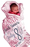 Personalized Baby Blankets (30'x40', Pink Micro Plush Fleece with Satin Edge) for Girls Custom Printed with Name Birth Special Gifts for Newborn Baby Room Nursery Christening or Baptism