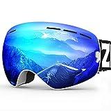 ZIONOR X Ski Snowboard Snow Goggles OTG Design for Men Women Adult with Spherical Detachable Lens UV Protection Anti-Fog (VLT 22% White Frame Revo Blue Lens)