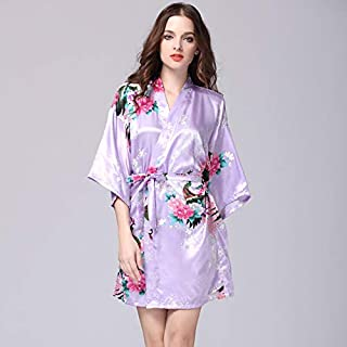 Women Faux Silk Robe Satin Wedding Bride Robe Large Size Sexy Floral Bathrobe Short Nightwear Women Pajamas Elegdy (Color...