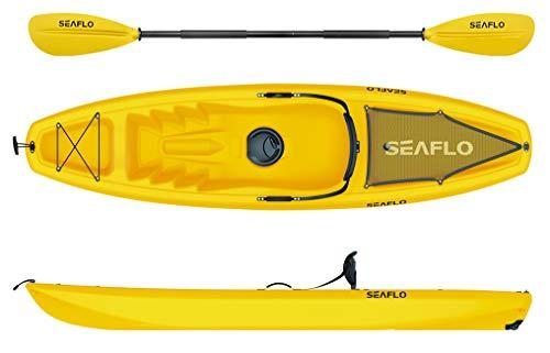Seaflo Sit on Top Kajak mit Paddel und Angelrutenhalter -gelb-