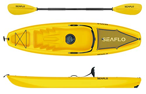 Seaflo Sit on Top kayak con pagaia e supporto per canna da pesca, giallo