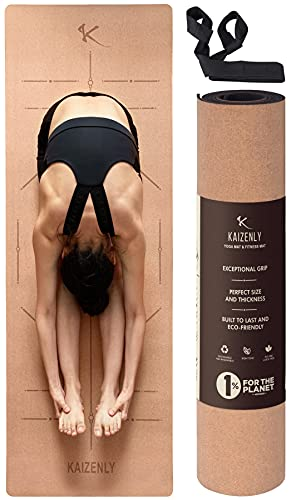 KAIZENLY Eco-Friendly Yoga Mat - Natural Cork, Excellent Grip, Thick - Hypoallergenic & Non Toxic -...