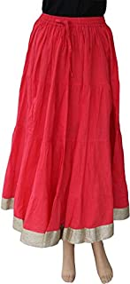 Matelco Red Crushed Cotton Ankle Length Flair Skirt with gota Border