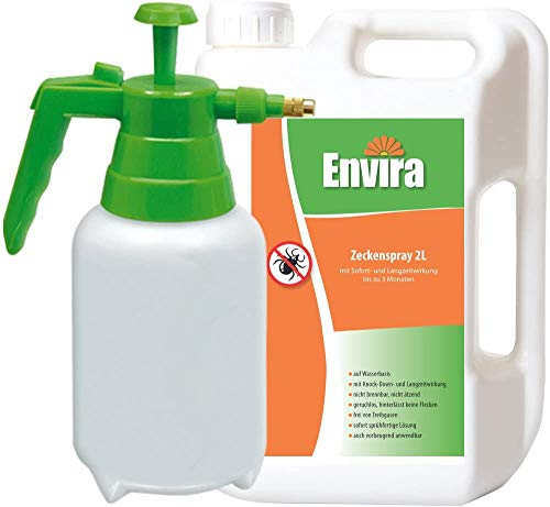 Envira Zecken-Spray - Anti-Zecken-Mittel Mit Langzeitwirkung - Geruchlos & Auf Wasserbasis - 2L + 2L Drucksprüher