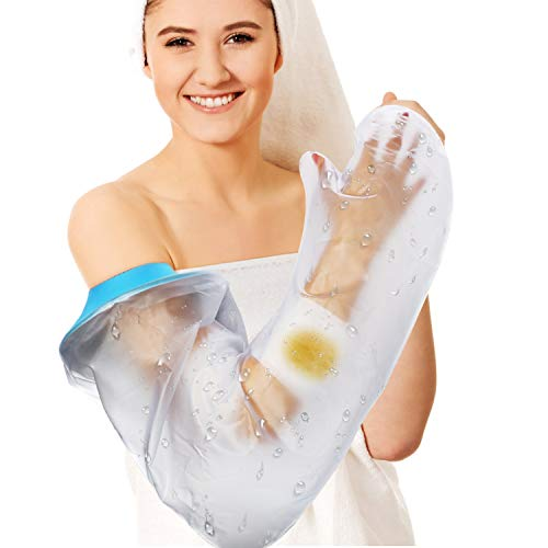 Waterproof Arm Cast Cover for Shower Adult Long Full Protector Cover Soft Comfortable Watertight Seal to Keep Wounds Dry Bath Bandage Broken Hand,Wrist,Finger,Elbow No Mark on Skin,Reusable