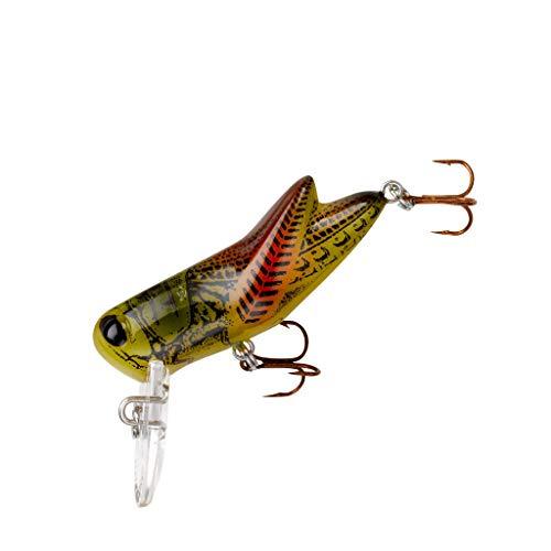 Rebel Lures Crickhopper Cricket / Grasshopper Crankbait Fishing Lure, 1 1/2 Inch, 1/4 Ounce, Summer Hopper, Crickhopper (3/32 oz)