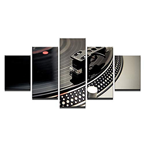 5 wall prints canvas picture Prints On Canvas 5 Pieces Canvas living room bedroom interior decoration creative murals and posters(No frame) Bar Dj Musical Instrument Turntable Nightclub Ballroom
