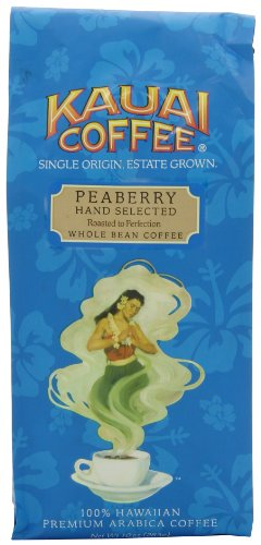 100% Kauai Whole Bean Coffee, Peaberry – 100% Premium Arabica Whole Bean Coffee from Hawaii's Largest Coffee Grower – Peaberry Coffee Features a Bright Aroma with Light Floral Notes (10 Ounces)