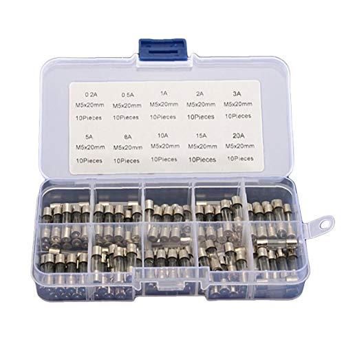 YZLSM 1quick Schlag Glasrohrsicherung Verschiedene Kit 100pcs 5x20mm Elektrische Verschiedene Sicherungs Amp Flink