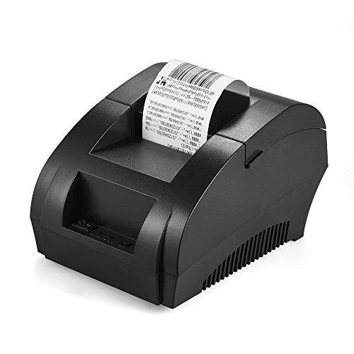 KKmoon Quittungsdrucker, Quittungsdrucker, Etikettendrucker, 100 ~ 240 V BT 4.0 POS Thermoticketcode-Drucker 58 mm Papier | 8 Punkte / mm | 90mm / s für iOS Android Windows