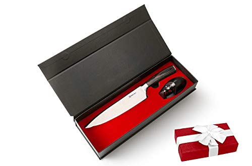 BRIGADA Germany Kochmesser Küchenmesser Allzweckmesser aus hochwertigem Edelstahl 20cm inkl. edlem Messerschärfer, hochwertige Geschenkbox