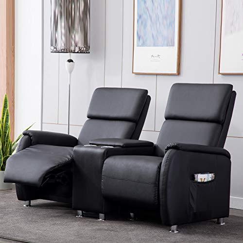 Lifestyle For Home Kinosofa 2 Sitzer Relaxchair Fernsehsessel Cinema Sofa Sessel schwarz verstellbar mit Getränkehalter