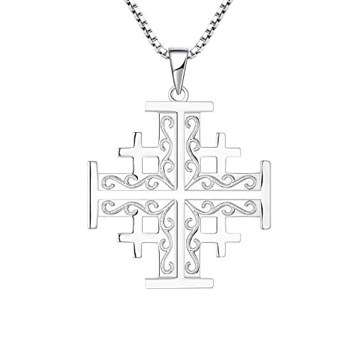 YL Jerusalem Cross Pendant Necklace 925 Sterling Silver Freemason Crusaders Religious Charm Jewelry, Glyph Symbols (925 Sterling Silver)