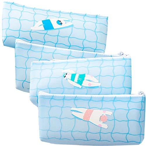 4 Pcs Pencil Bag Cartoon Swimming Stance Waterproof Funny Cool Fashion Wash Bag for Kids Girls Teen Boys