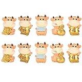 Yardwe - Lote de 10 figuras en miniatura, diseño de vaca, buey, zodiaco, chino Año del buey vaca, de...