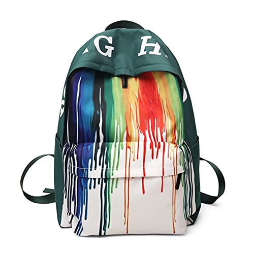 UKKO Zaino Moda Student School Bags Unisex Color Contrast Nylon School School Satchel Designer Zaino Donne Lightweight Student Zaini degli Studenti-Bd-08 Green