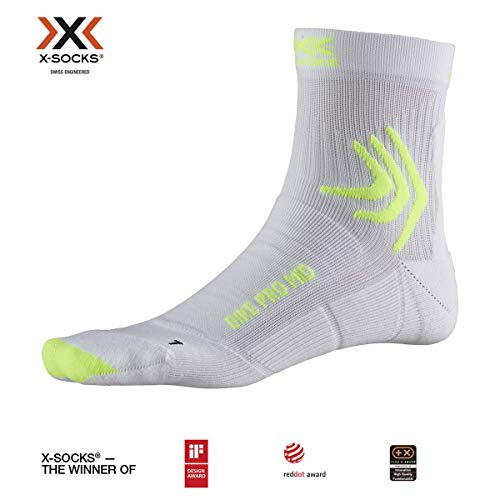 X-Socks Bike Pro Mid Chaussette Mixte Adulte, Arctic White/Python Yellow, FR : L (Taille Fabricant : 42-44)