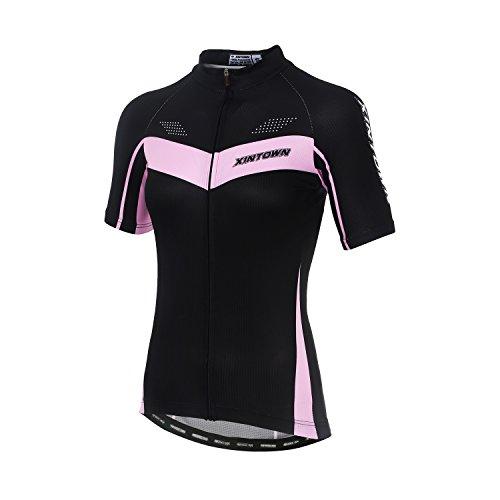 DuShow Fahrradtrikot für Damen, kurzärmlig, reflektierend, Damen, 0q-36re-btie, schwarz 2, Medium