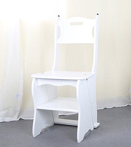 CAIJUN Chaise D'escalier Pliante Bois Massif Étagères Multi-étages, 3 Couleurs, 86 * 41cm Chair Ladder (Couleur : Blanc)