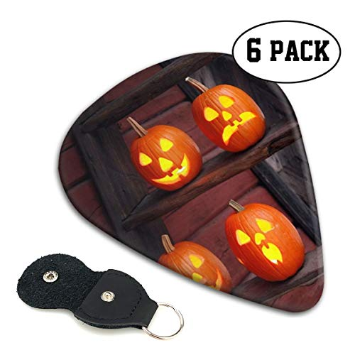 Rterss Celluloid Gitaar Picks Sampler Pick Inclusief Dunne Medium Zware Gauges 6 Pack Halloween Holiday Pumpkin Ladder op maat