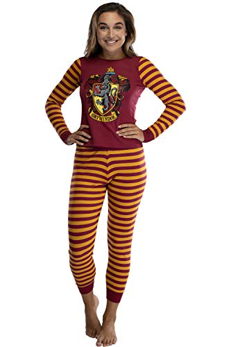 Harry Potter Gryffindor House Crest Tight Fit Adult Cotton Women's Pajama Set LG