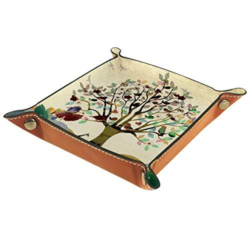 Ameili brauner handgezeichneter Baum dekorativer Schmuck Wertschrank Aufbewahrung Würfelhalter Organizer PU-Leder Münzfach Schlüsselablage Schmuckschale Ledertablett für Schlüssel Geldbörse Reisen
