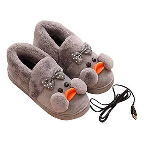 DYHQQ Scaldapiedi riscaldato, Pantofole riscaldanti elettriche USB, Pantofole riscaldate con Scarpette riscaldate in Cotone Felpato, Pantofole Calde con Comfort Interno casa Invernale,Grigio,37~38