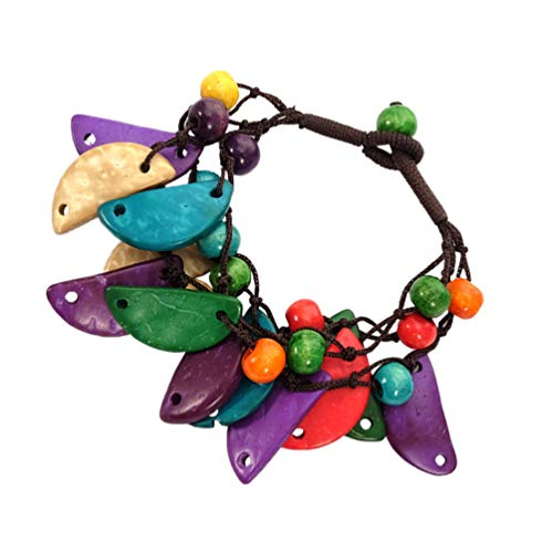 Amosfun 2 pulseras bohemias de concha de coco, joyera de playa, regalo de cumpleaos, boda, carnaval, festival, accesorios de disfraz