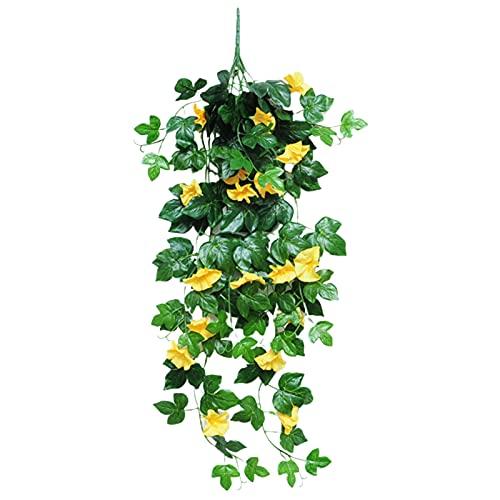 CJFael 1 flor artificial artificial realista DIY 9 tenedores, decoración de pared, simulación, gloria matutina, para ventana, jardín, boda, fiesta, decoración amarilla
