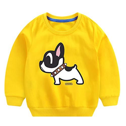 QinMM 0-6 años Bebé Niños Niñas Tops Algodón Perro de Dibujos Animados Sudadera Linda Ropa de Jersey Camiseta