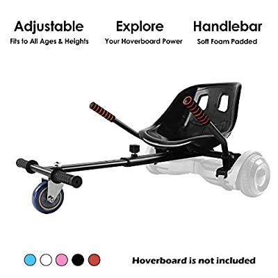 Hoverboard Kart, Hoverboard Seat Attachment Accessories for Self Balancing Scooter Go Kart Conversion Kit Hover Board Cart Buggy Attachment Fits 6.5'' 8'' 10'' Adjustable for All Heights & Ages Black