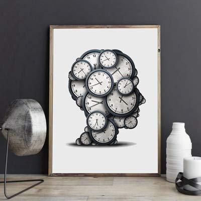 Cartel de tiempo de pensamiento, reloj abstracto objeto fecha límite imagen de presión lienzo pintura moderna sin marco pintura decorativa en lienzo I39 50x70cm