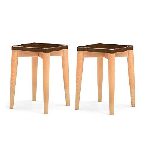 JIEER-C Ocio sillas Taburete Cuadrado de Madera Maciza Castaño Antiguo Conjunto de 2 taburetes Sill