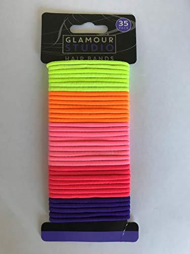 PMS - Elastici per capelli con 35 elastici per capelli, senza pieghe, in metallo, 4 mm, multicolore