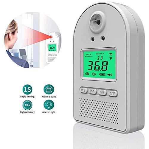 WFWPY An der Wand montiertes Infrarot-Körpertemperaturmessgerät, 0,5S Smart Voice-Temperaturtester Schneller berührungsloser Test für die Fabrik des Unternehmens Kostenlose 1 Stück Gasmaske