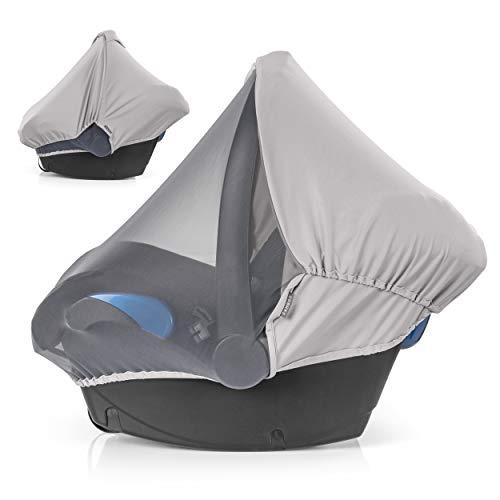 Zamboo 3in1 Verdeck für Babyschale mit UV-Schutz - Sonnenschutz, Insektenschutz und Schlummerverdeck (passend für Maxi-Cosi, Cybex, Joie uvm.) (Grau)