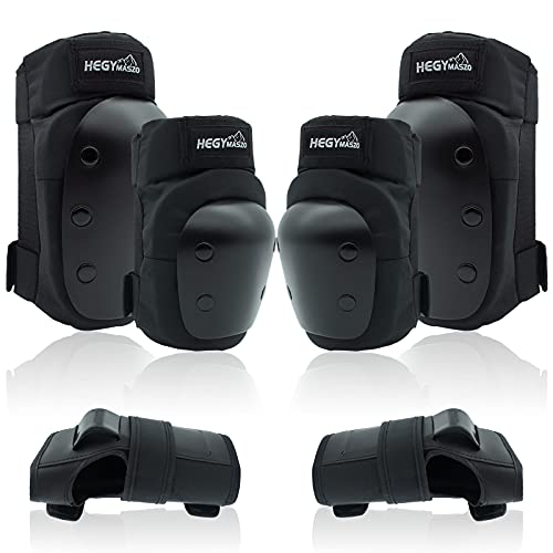 Knieschoner, Knee Pads Set for Children and Adults, Professional Protector Set for Skateboard, Skating, Scooters, Cycling, Inline Skates (M - Teenagers)