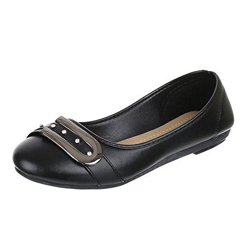 Damen Schuhe, H-15, Ballerinas, Strass BESETZTE Pumps, Synthetik in hochwertiger Lederoptik, Schwarz, Gr 38