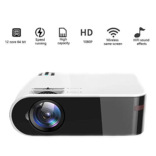 Beamer 4K Ultra HD Mini-Projektor mit Wireless-Keystone-Korrektur gleichen Display Tragbarer Projektor Artifact Artifact Hallo-Fi-Stereo-Unterstützung Mehrere Externe Speichergeräte