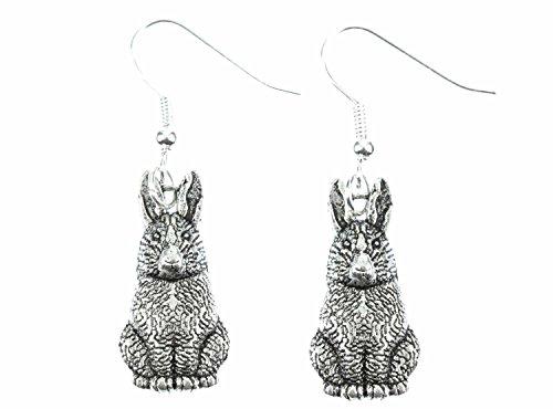 Miniblings Hase Ohrringe Hasenohrringe Häschen Hasen Kaninchen Osterhase silber - Handmade Modeschmuck I Ohrhänger Ohrschmuck versilbert