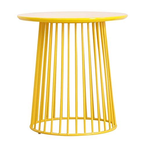 Coffee Tables Nordic Minimalist Style Living Room Coffee Table Wrought Iron Sofa Side Table Balcony Bedroom Small Round Table Paint (yellow) End Table Sofa Table