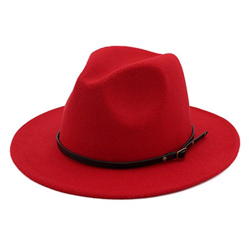 Lisianthus Women Belt Buckle Fedora Hat Red