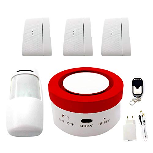 ECTECH Alarmas de sirena antirrobo WiFi inalámbrica, TUYA Smart Home Security Alarma, compatible con Alexa y Google Assistant