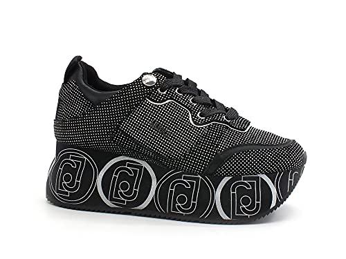 Liu Jo Super Maxi Wonder Sneaker Platform Glitter Black Silver BA1085PX164 36
