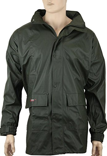 Norway PU Regen-Jacke mit Kapuze - Oliv - Größe: L