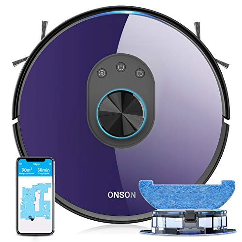 Robot Vacuum, ONSON 2700Pa Lidar Navigation Vacuum Cleaner and Mop, Multi-Level Mapping with Wi-Fi Connected, up to 270mins Runtime Robotic Vacuum for Pet Hair Hard Floor and Carpets
