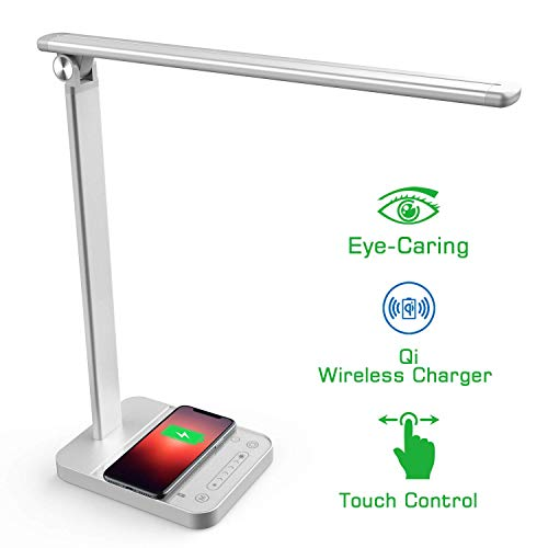NAPATEK Lámpara Escritorio LED, Lámpara De Mesa Para Cuidado De Los Ojos Con Cargador Inalámbrico, Aleación De Aluminio Lámpara De Luz Natural De Brillo Multinivel Con Control, Plateado