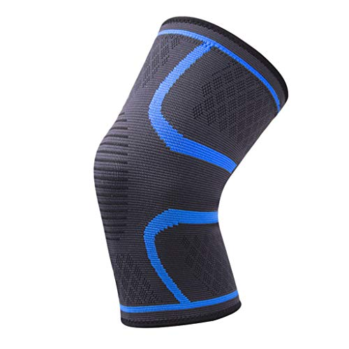 FAMOORE Knee Compression Sleeve - Best Knee Brace for Men & Women – Knee Support for Running, Basketball, Football, Volleyball, Weightlifting, Gym, Workout, Sports (Large, Navy)