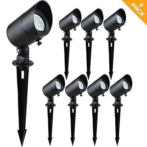 Doluck 4W LED Landscape Lights Low Voltage Landscape Lighting Spotlights GL101-BKLED8 AC/DC 12V Warm White Waterproof for Driveway,Yard, Lawn,Patio,Walls,Trees,Flags,Outdoor Light (Black, 8 Pack)